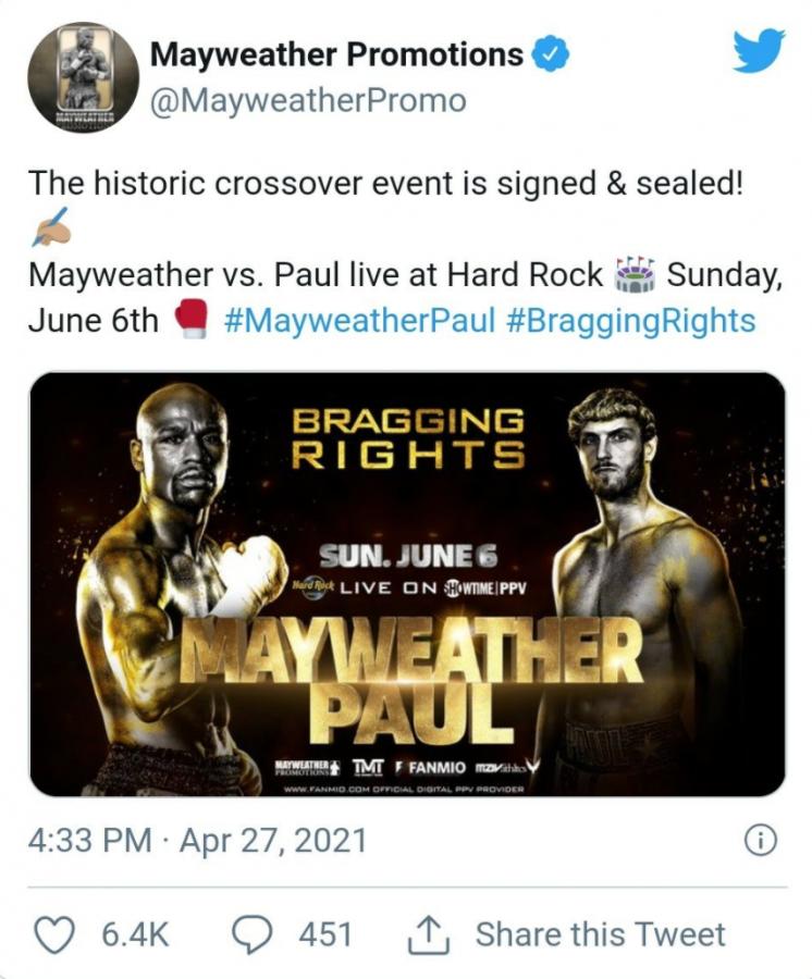 Floyd Mayweather vs Logan Paul Confirmed for June 6